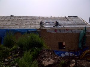Spray foam to roof