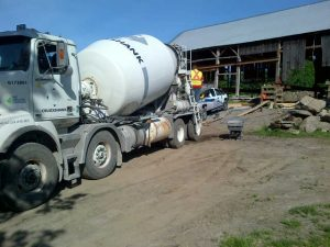 Cement is poured